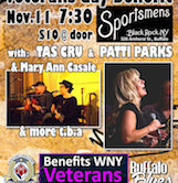 Veterans Day Benefit w/Tas Cru  & Patti Parks w/Ann Casale & More 7:30pm $10@Door