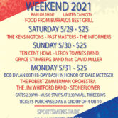 Sportsmens Park Memorial Day Weekend Day 1 The Kensingtons- Past Masters- The Informers 3:30pm $25 per person sold as a group of 2 or 10